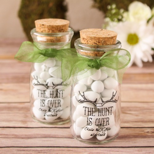 Personalized The Hunt is Over Mini Vintage Jars
