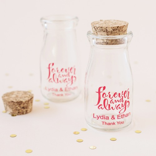 Personalized Forever and Always Milk Jars