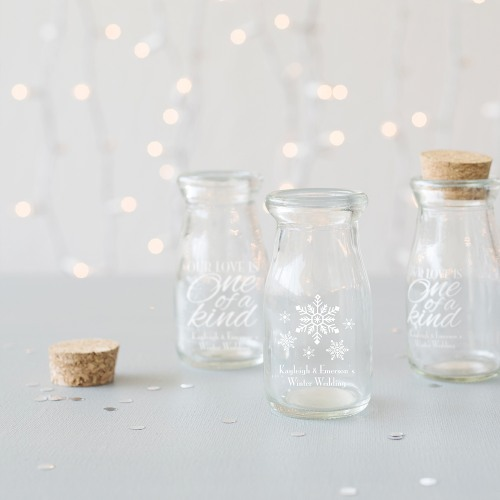 Personalized Winter Themed Vintage Milk Jars