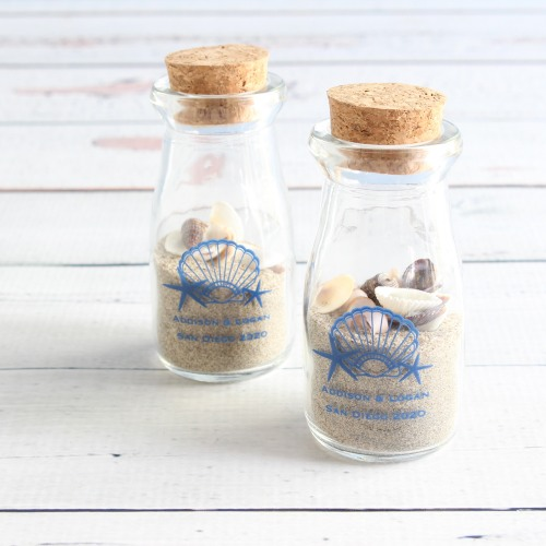 Personalized Seashell Vintage Milk Jars