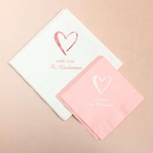 Personalized Heart Napkins