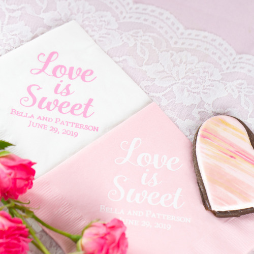Personalized Love is Sweet Exclusive Wedding Napkins