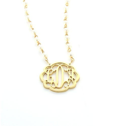 Flourish Monogram Pearl Necklace