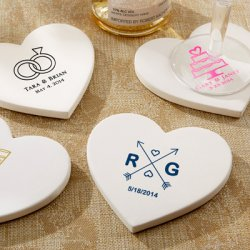 Personalized Heart Shaped Stone Coasters