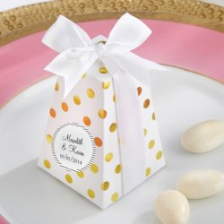 Gold Dot Favor Boxes with Personalized Labels