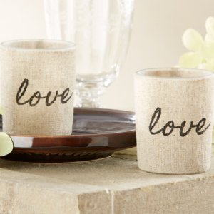 """Love"" Linen-Covered Glass Votive Holders"