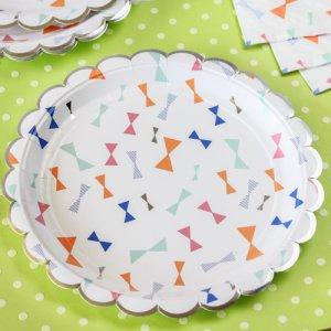 "Toot Sweet Bow Pattern 7"" Party Plate"