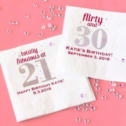 Personalized Milestone Birthday Napkins