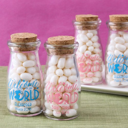 Personalized Printed Welcome to the World Vintage Milk Jars