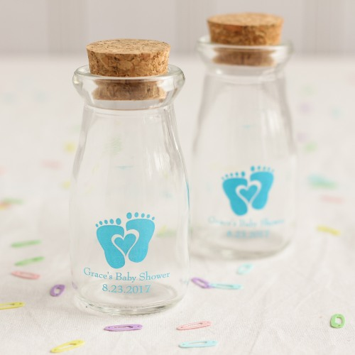 Personalized Baby Feet Vintage Milk Jars