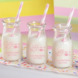 Personalized Printed Baby Shower Vintage Milk Jars