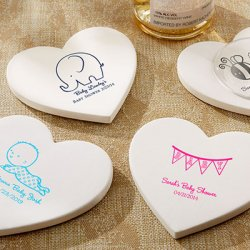 Personalized Heart Shaped Baby Shower Stone Coasters