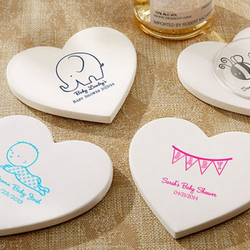 Personalized Baby Shower Heart Shaped Stone Coasters