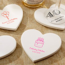 Personalized Heart Shaped Birthday Stone Coasters