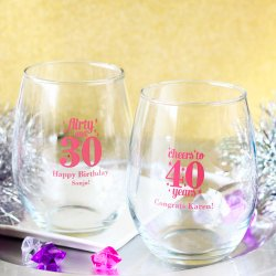 Personalized Milestone Birthday Stemless Wine Glasses