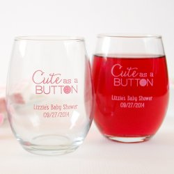 Personalized Baby Themed Stemless Wine Glasses