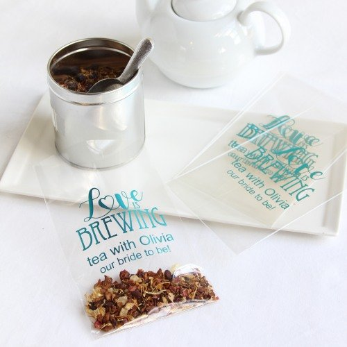 Personalized Love is Brewing Cellophane Bags