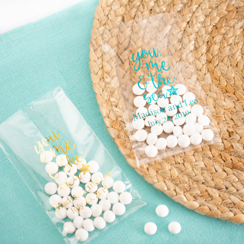 Personalized You Me & the Sea Wedding Cellophane Bags