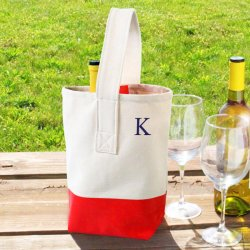 Personalized Color Dipped Wine Tote