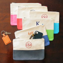 Personalized Color Dipped Canvas Clutch