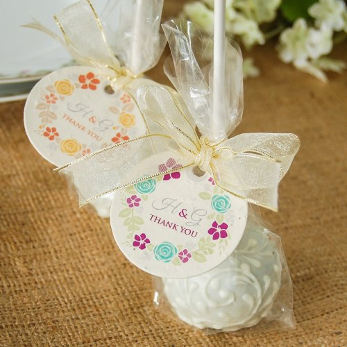 Personalized Floral Wreath Plantable Favor Tags on Brownie Favor Pops