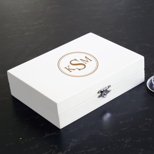 Personalized Wooden Jewelry Box in White
