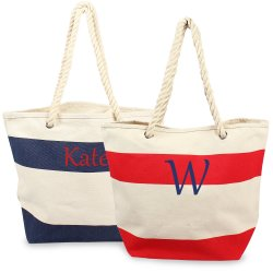 Personalized Striped Canvas Bag with Rope Handles