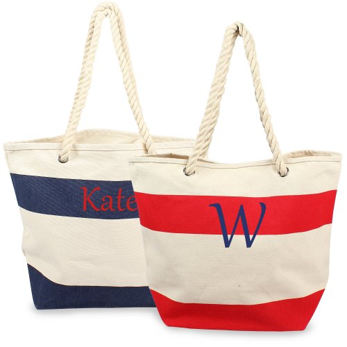 Personalized Bag with Rope Handles, Personalized Nautical Striped ... c0eb986f53