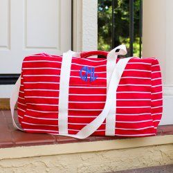 Personalized Striped Duffle Bag