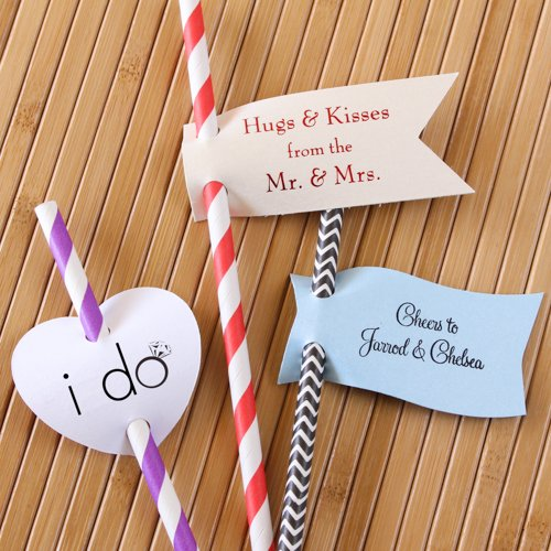 Personalized Bridal Straw Tags with Decorative Straws