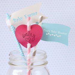 Personalized Baby Shower Straw Tags
