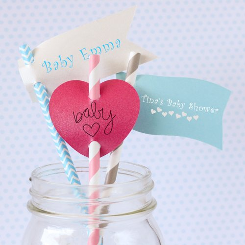 Personalized Baby Shower Straw Tags with Decorative Straws