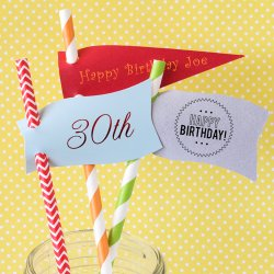 Personalized Birthday Straw Tags