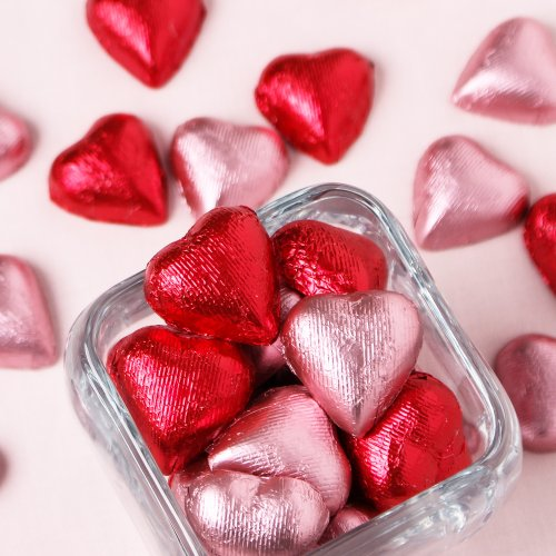Metallic Foil Wrapped Hearts in Red and Pink