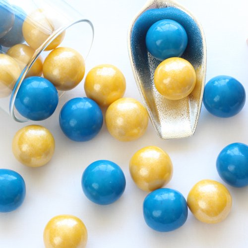 Gumballs in Shimmer Blue and Shimmer Yellow
