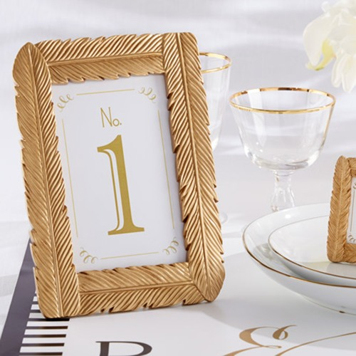 Gold Feather Place Card Holders, Gold Photo Frames, Gold Feather ...