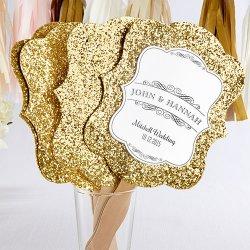 Personalized Gold Glitter Hand Fan