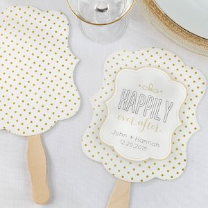 Personalized Gold Dot Hand Fan