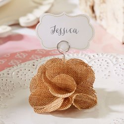 Burlap Flower Place Card Holder
