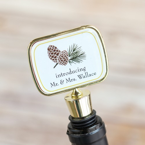 Personalized Pinecone Bottle Stopper with Epoxy Dome