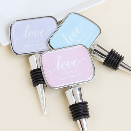 Personalized Love Bottle Stopper with Epoxy Dome