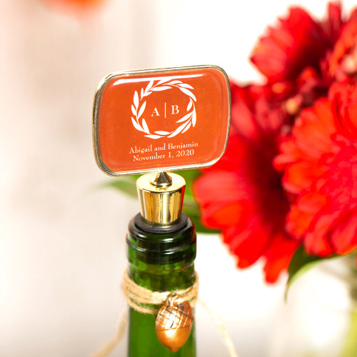 Personalized Fall Harvest Bottle Stopper with Epoxy Dome