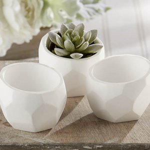Geometric White Planter