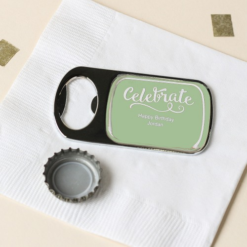 Personalized Birthday Bottle Opener with Epoxy Dome