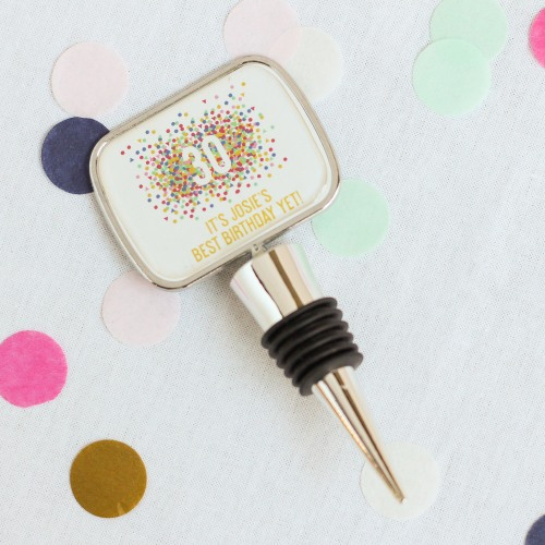 Personalized Birthday Bottle Stopper with Epoxy Dome