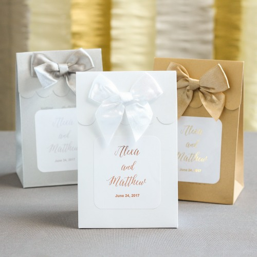 Personalized Metallic Foil Wedding Candy Bags