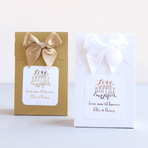 Personalized Love Laughter Metallic Foil Candy Bags