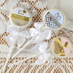 Personalized Bridal Metallic Foil Lollipop Favors