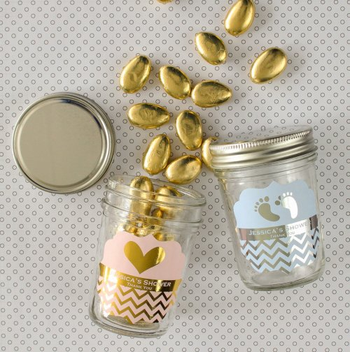 Personalized Baby Shower Metallic Foil Mini Mason Jars