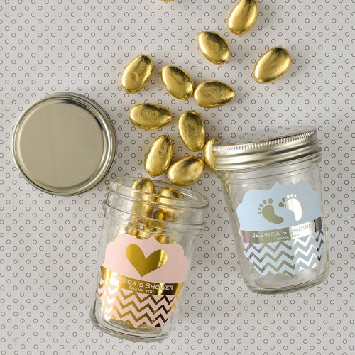 Personalized Baby Shower Metallic Foil Mason Jars